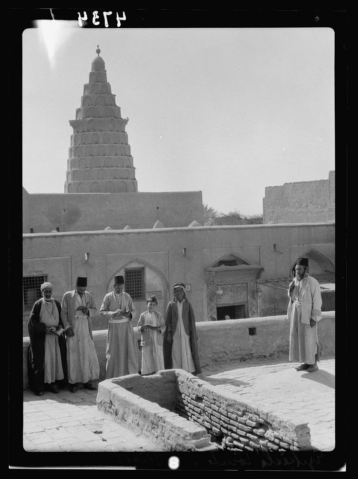 Biblical prophet Ezekiel's tomb with rabbi caretakers in the Iraqi town of Kifl, not far from the ancient city of Babylon.  Ezekiel prophesized the destruction of Jerusalem in 587 BCE and the exile to Babylon.  Photo 1932.  There aren't any Jews in Iraq today.