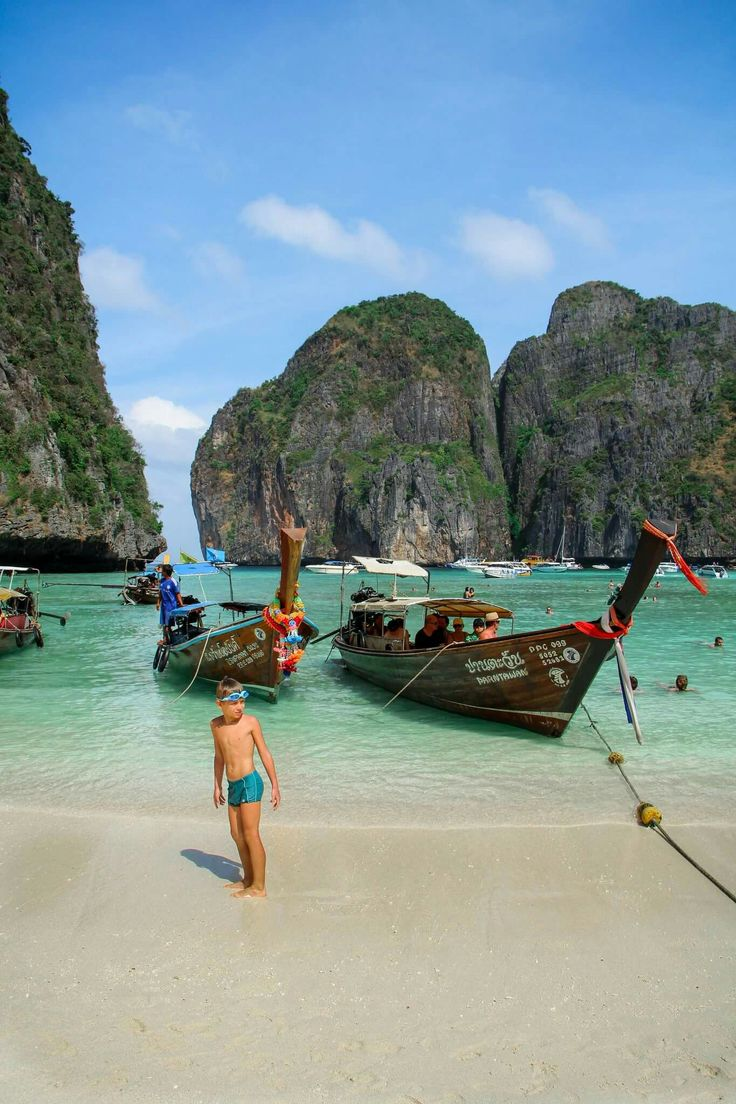 Phi Phi Island in Thai land. One of the most beautiful beaches I've ever been to. A two hour boat ride from the mainland. I highly recommended spending few nights on this island.