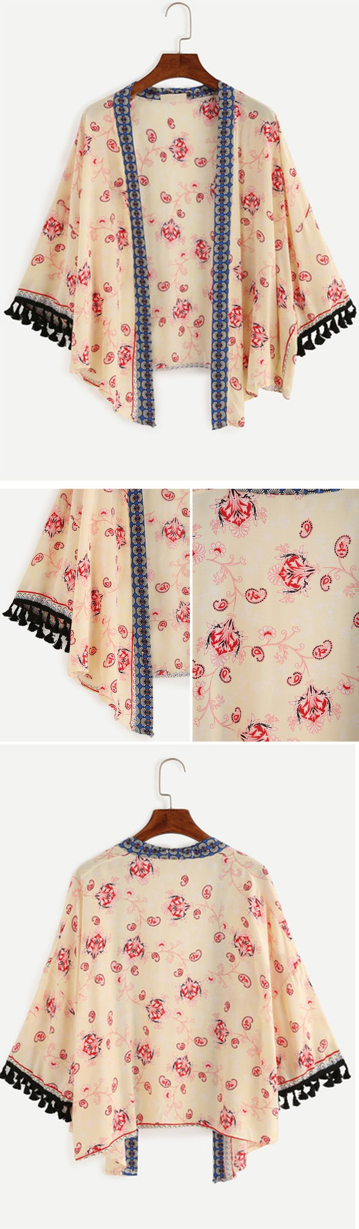 Yellow Flower Print Tassel Trimmed Kimono