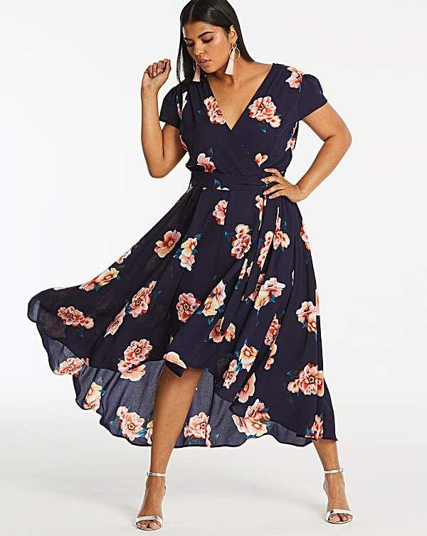 Ax Paris Curve Floral Dip Back Dress | Dresses | Dresses, Plus size ...