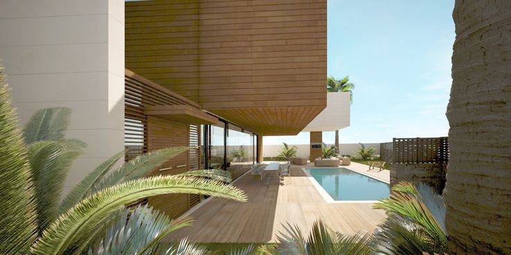 Jardín, piscina y porche. Vivienda unifamiliar San Javier - Arquitania Business