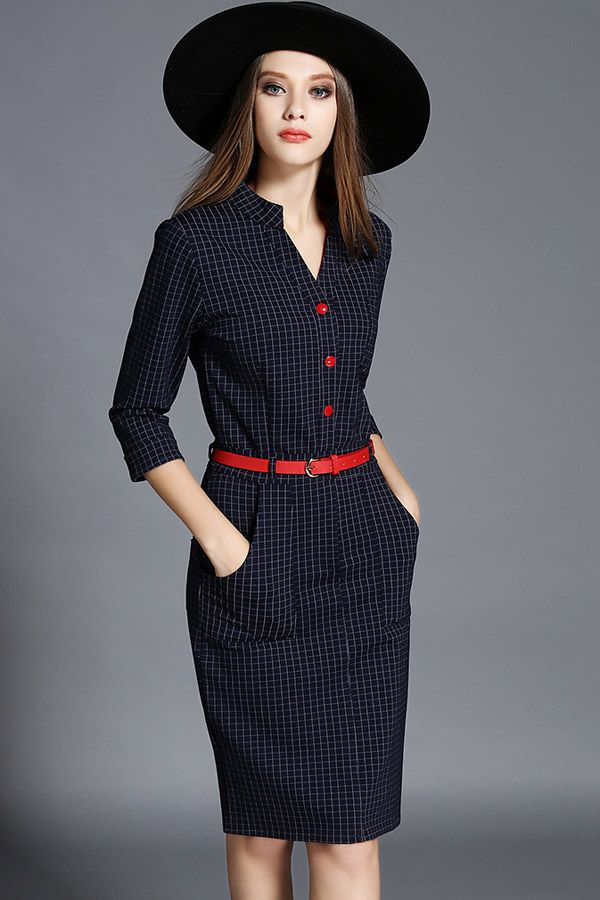 Dark Blue Plaid V Neck Bodycon Casual Dress