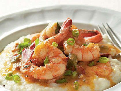 Local ingredients make Michelle's Lowcountry Shrimp and Grits--from freshly-caught shrimp to stone-ground grits with herbs, butter, and