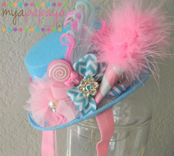Cotton Candy Top Hat- Great for Birthdays, photo prop, pageants- Carnival, Circus, Cotton Candy Birthday Circus Top Hat
