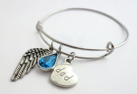 Dad Memorial Jewelry , Angel Wing Crystal Drop Dad Remembrance Bracelet , Gift for Grieving Daughter , Sympathy Gift for Loss of Father