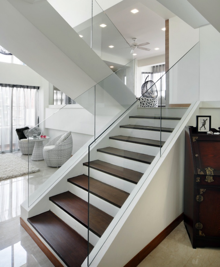 Pandan Valley Condo - modern staircase with glass rail - The Interior Place  (S) Pte Ltd