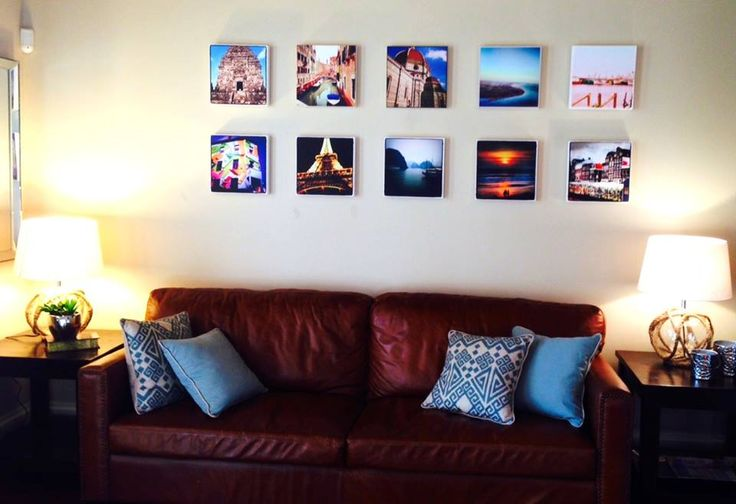 We actually got this idea from a website called www.canvaspop.com where you can print your favorite photos on canvas.  We used some photos from all of our travels around the world, and figured this would add a nice creative touch to our living room. What a great way to remember those fun adventurous, holidays or trips instead of just leaving these pictures hidden in a drawer or stuck on a hard drive. This gives a really creative touch instead of just framing your photos like everyone else.