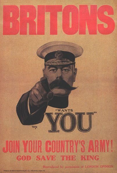 The Minister of War Lord Kitchener of Khartoum called the British arms. Manifesto by Alfred Leete, 1914.