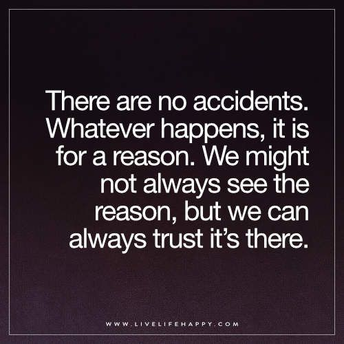 Live Life Happy: There are no accidents. Whatever happens, it is for a reason. We might not always see the reason, but we can always trust it's there.