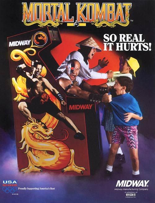 Crazy Retro Arcade Flyers - Mortal Kombat, because its the best way to ensure age restricion in arcade