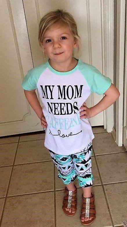 NEW! My Mom Needs Caffeine Shirt and Capri's, Toddler Aqua Shirt and Capris