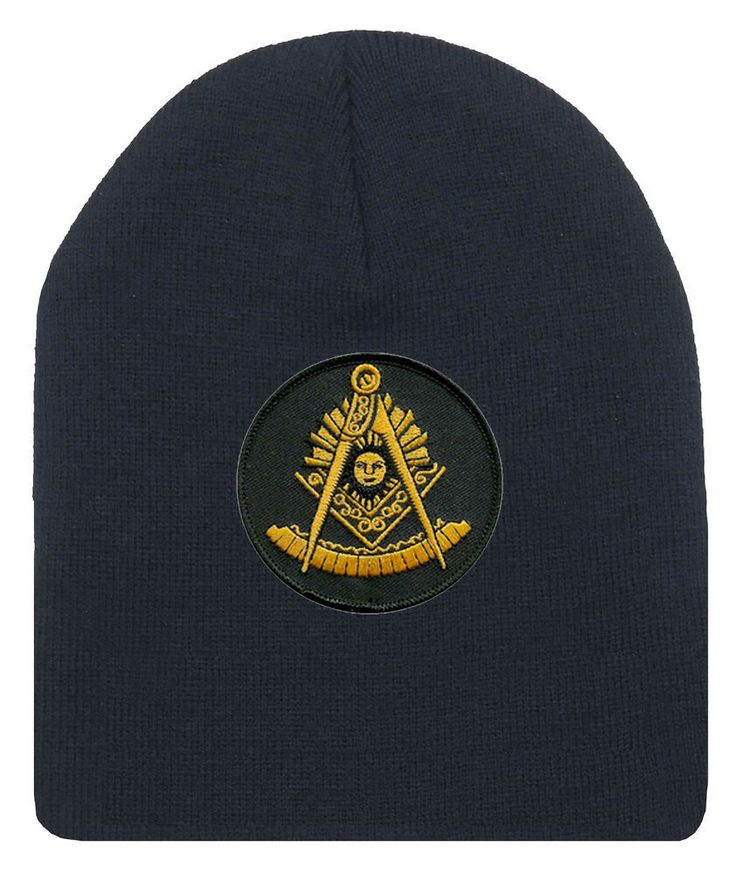 Freemason's Cap Winter - Black Beanie Hat With Golden Past Master Masonic Symbol