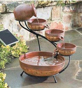 DIY water fountain: Gardens Offices, Homemade Water Fountain, Waterfountain, Water Gardens, Features Wall, Water Features, Antiques Brown, Gardens Fountain, Solar Fountain