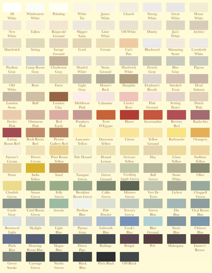 Farrow & Ball paint colours. My Favourites: Elephant's breath; Strong White; Pigeon; Cornforth white; Light blue; Manor House Gray; Downpipe; Blue Gray; All white; Winbourne White; Pavilion Gray; Hardwick White.