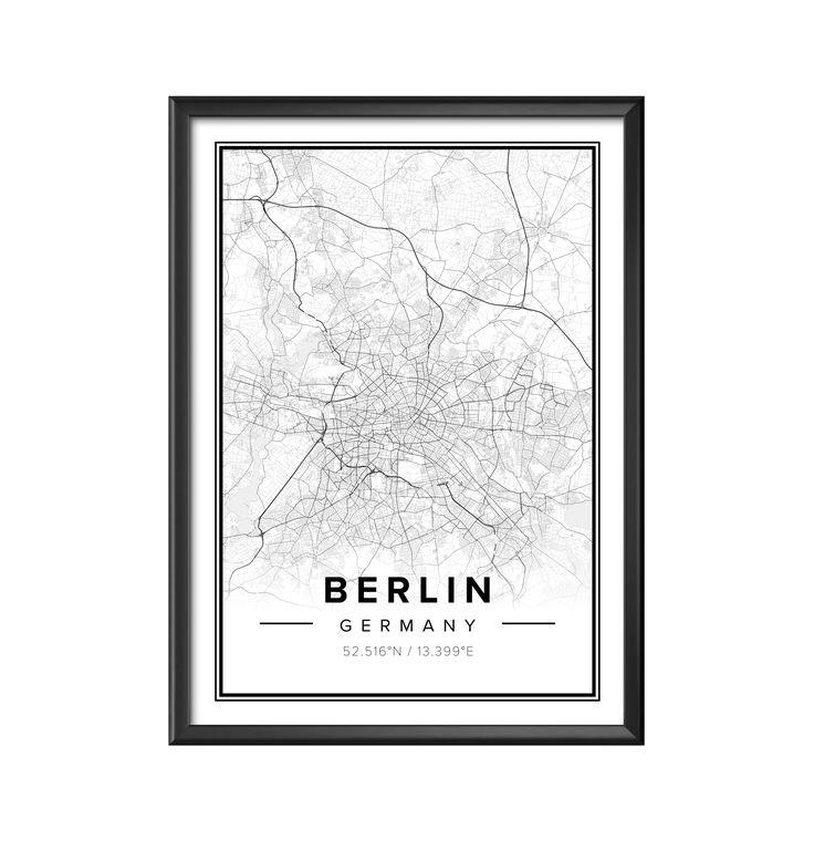 Map poster of Berlin Germany Print size 50 x 70 cm Custom black