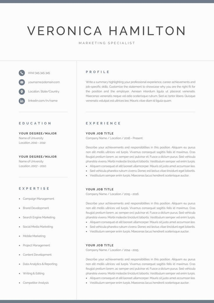 Professional Resume Template 1 and 2 Page Resume Modern CV