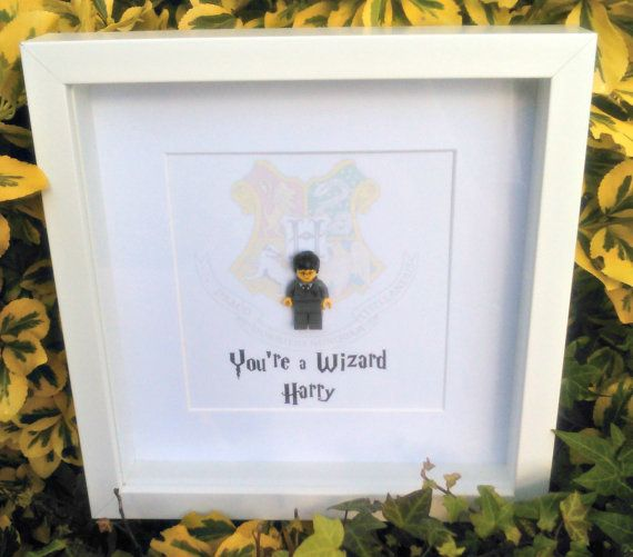 Harry Potter, Brick Figure Art, You're a Wizard Harry, Gift for Him, Gift for Her, Hogwarts Crest, Nerdy Gift Idea, Birthday Gift, Christmas
