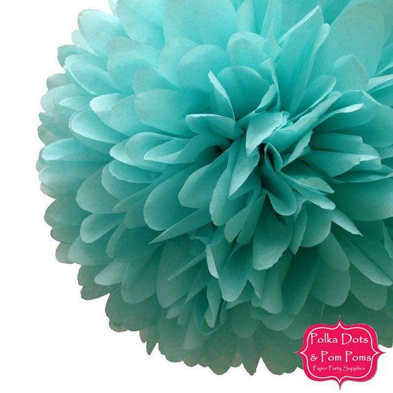 1 x 50cm (19.5 in) Sea Mist Tissue Paper POM POM / Pompom / Paper Flower / Retro Kids Party Supplies / Wedding / Baby Shower