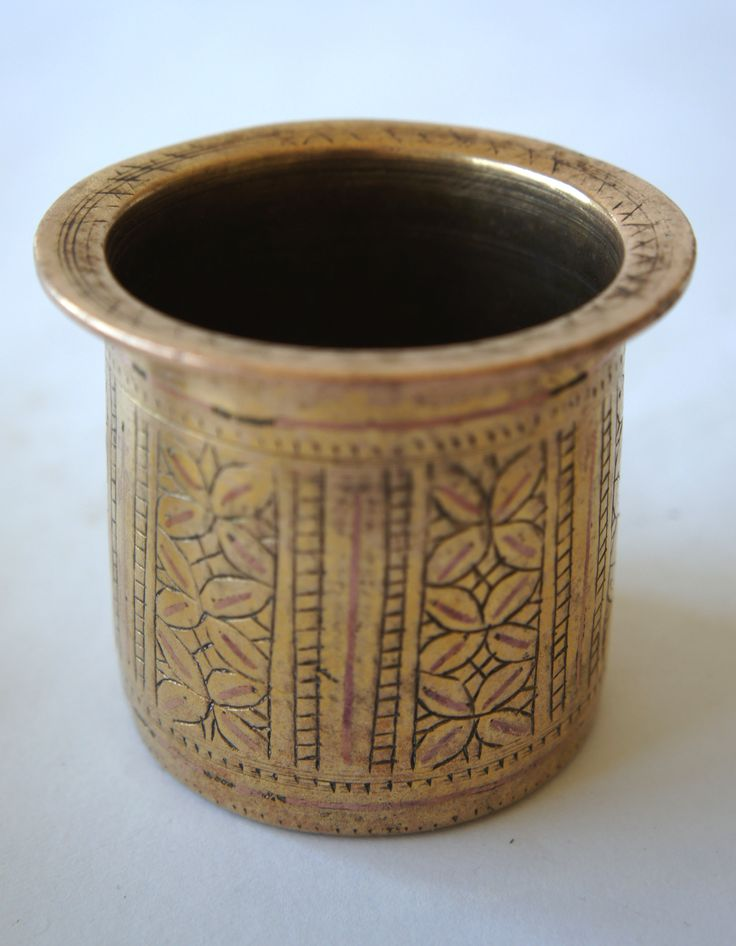 Brass and copper cup, India.