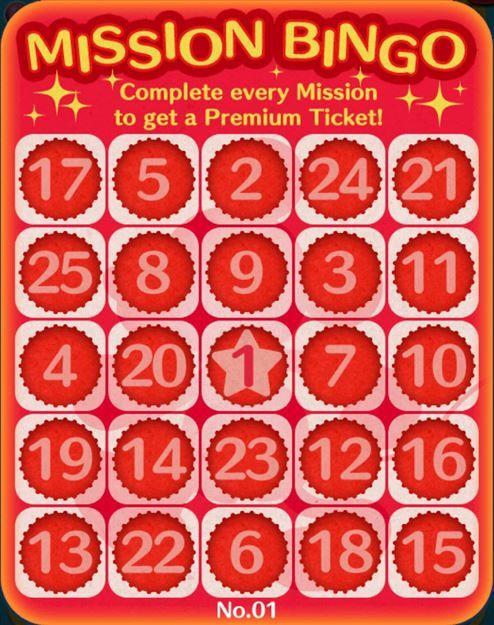 Tsum Tsum Mobile Game Bingo Card 1 Missions - Tsum Tsum Central