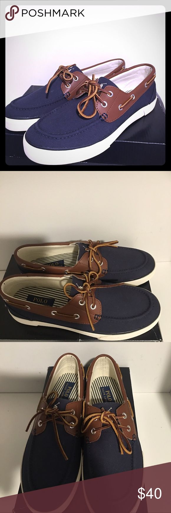 MEN'S, NEW POLO RALPH LAUREN BOAT SHOES NEW, NAVY RYLANDER CANVAS/ LEATHER BOAT SHOE Polo by Ralph Lauren Shoes Boat Shoes