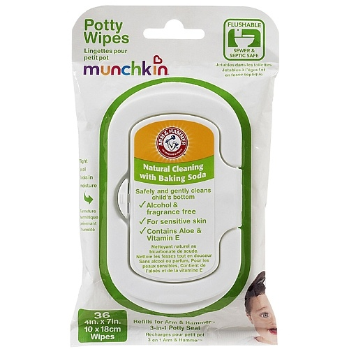 Arm & Hammer Potty Wipes by Munchkin    Flushable Potty Wipes help ease transition from diapers to the potty and help encourage independence in the bathroom. These wipes are pre-moistened to clean better than dry bathroom tissue alone.