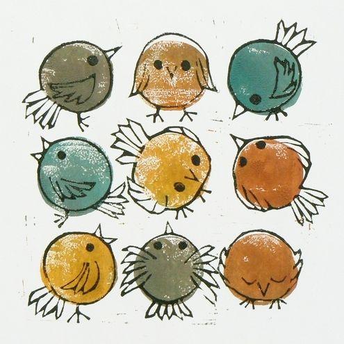 Doodle birds linocut