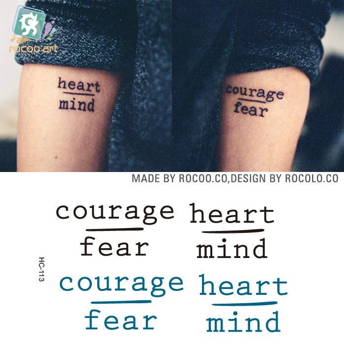 """[Visit to Buy] Waterproof Temporary Tattoo Sticker """"heart mind courage fear"""" English letter alphabet tatto stickers flash tatoo fake tattoos #Advertisement"""