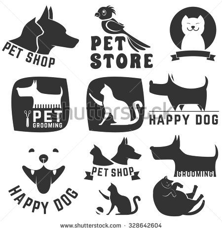 Set of pet shop labels and badges. Cat food. Dog food. Pet store. Logo design template. Pet grooming - stock vector