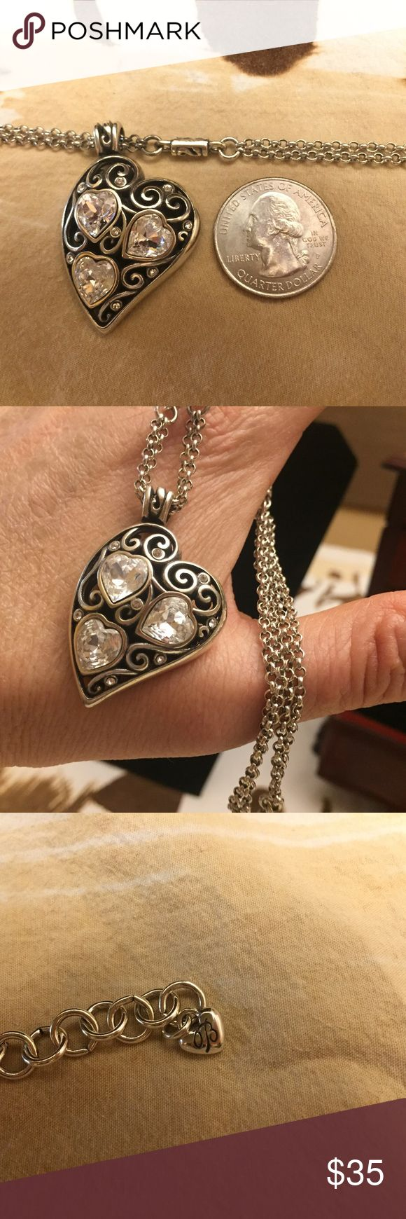 """Brighton Heart Necklace Lovely Brighton heart necklace.   Excellent used condition - 👌like new 👌 (no damage noted).   16"""" plus 3"""" extender.   Front has crystal hearts and dots.   Back and other details are shown in pictures! Brighton Jewelry Necklaces"""