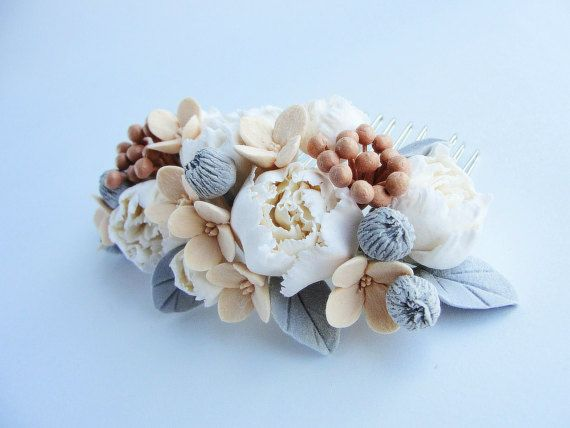 Peony Bridal Hair Comb Country Wedding Rustic Vintage Shabby