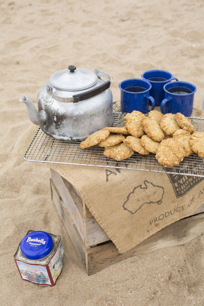Australia Day party on the beach. | Carbine Avenue. Billy tea and Anzac biscuits on the beach. https://carbineavenue.wordpress.com/2013/01/24/australia-day-beach-shoot/