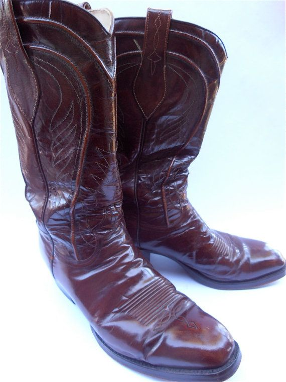 Vintage Burgundy Mens Cowboy Boots Maroon by VillaCollezione, $82.00