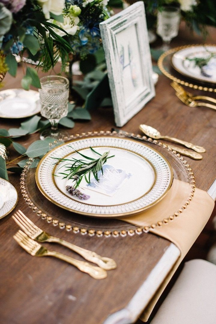 Gold and Green Wedding Inspiration   Formal Table Setting   Gold Utensils   Green Floral Centerpieces