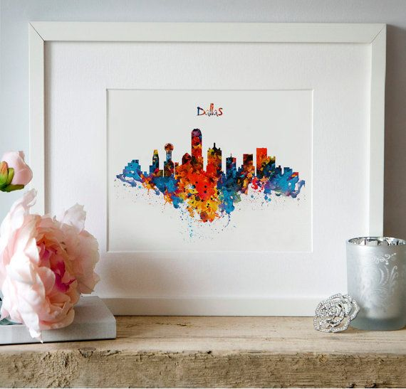 Dallas Watercolor Skyline Wall art Instant download by Artsyndrome