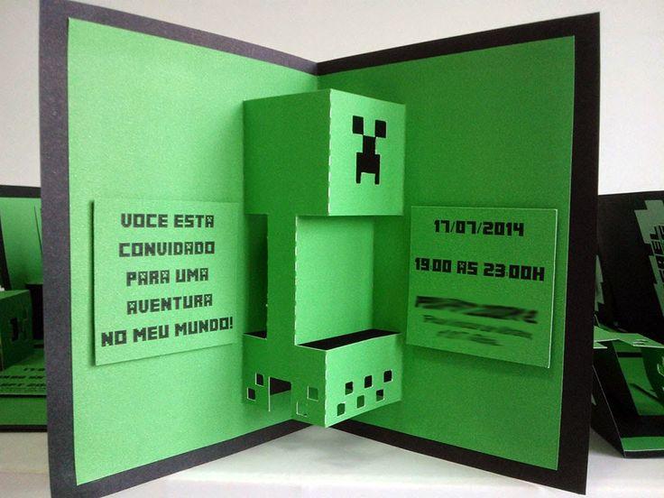 MZ Convites e Papelaria: Convite Minecraft | Festa ...