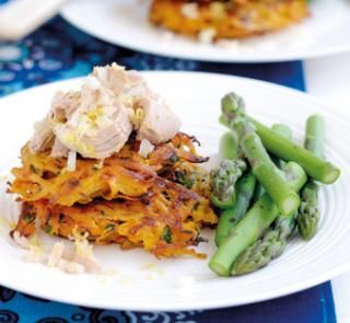 Sweet potato fritters with zesty tuna topping | Australian Healthy Food Guide