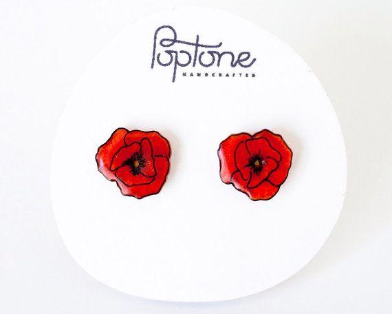 Red Poppy oorbellen, papavers, rode bloem Stud Earrings stud earrings, poppy hengsten, rode papavers