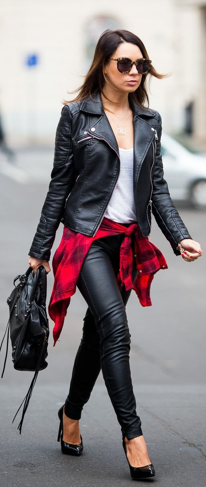 All #Leather With A Pop Of #Plaid by Cashmere In Style