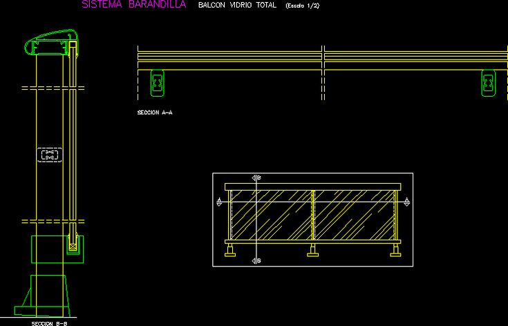 Detalle baranda de vidrio dwgdibujo de autocad arch for Sliding glass doors autocad