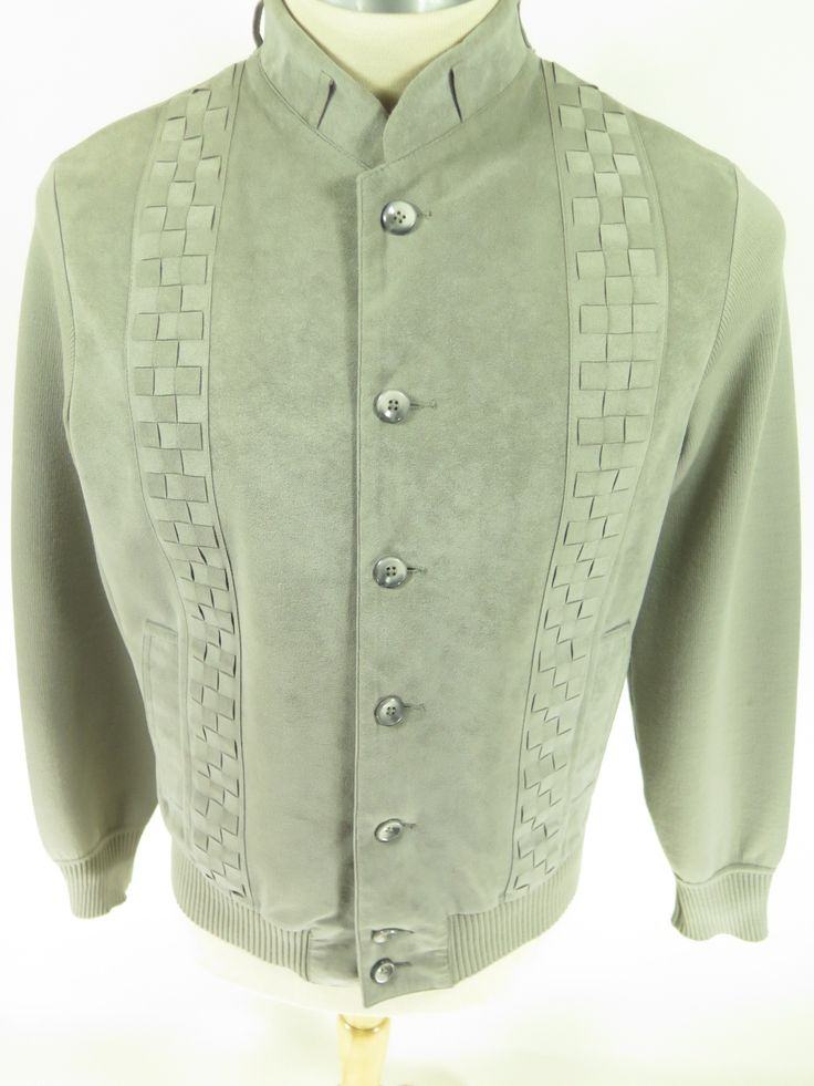 Vintage 50s St. Crouix Rockabilly style men's gray sweater jacket. Find more men's and women's authentic vintage clothing at The Clothing Vault.