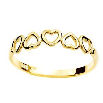 Gold Ring - String of Hearts - BEE-41561
