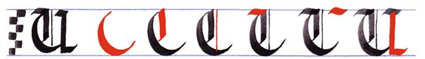 gothic writing: capital gothic letters A-Z: letter U