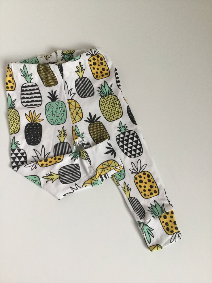 PINEAPPLES! so fun! Knit leggings in Spoonflower fabric for preemie baby through child size 6 -white -black -yellow by PoppiesandPeanuts on Etsy