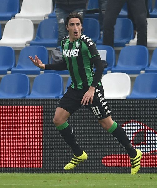 Alessandro Matri of US Sassuolo celebrates after scoring the opening goal during the Serie A match between US Sassuolo and AC Chievo Verona at Mapei Stadium - Citta' del Tricolore on February 12, 2017 in Reggio nell'Emilia, Italy.
