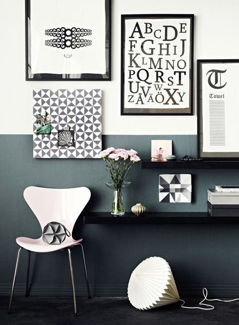 Half painted walls. Great look. Contemporary feel in this oh-so-chic-yet-timeless palette.: