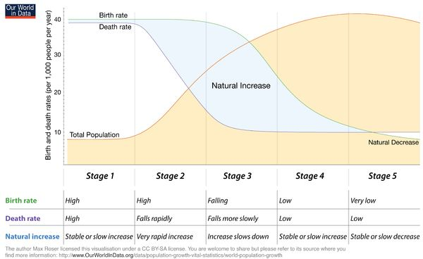 """Demographic transition"" (Wikipedia article) - a highly detailed article on this problem/model. From the article: ""Demographic transition (DT) refers to the transition from high birth and death rates to lower birth and death rates as a country develops from a pre-industrial to an industrialized economic system."""