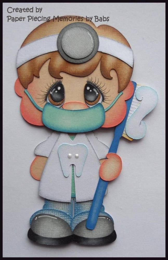Dentist Brown Hair Premade Paper Piecing Die Cut for Scrapbook Page byBabs