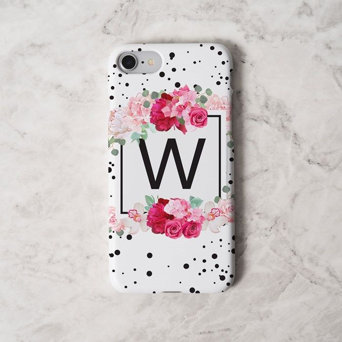 Personalised iPhone Snap Cover - Floral & Black Initial | GettingPersonal.co.uk