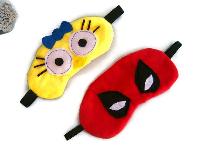 Máscara para dormir Maggie Simpsons Antifaz para dormir Deadpool Máscara para dormir superheroe Marvel Máscara divertida Accesorio viaje de ElTallerdeRuna en Etsy